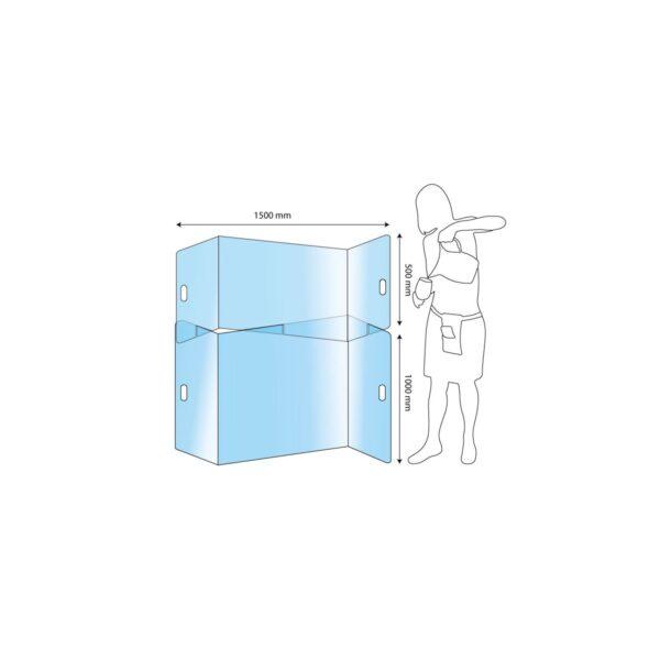 Protection plexiglas x2 séparation tables XL anticovid 150x150cm Germprotect 1