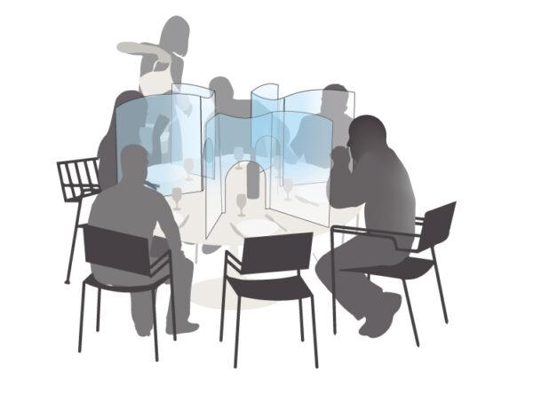 Protection plexiglas restaurant table ronde anticovid 53,9x50cm Germprotect 3