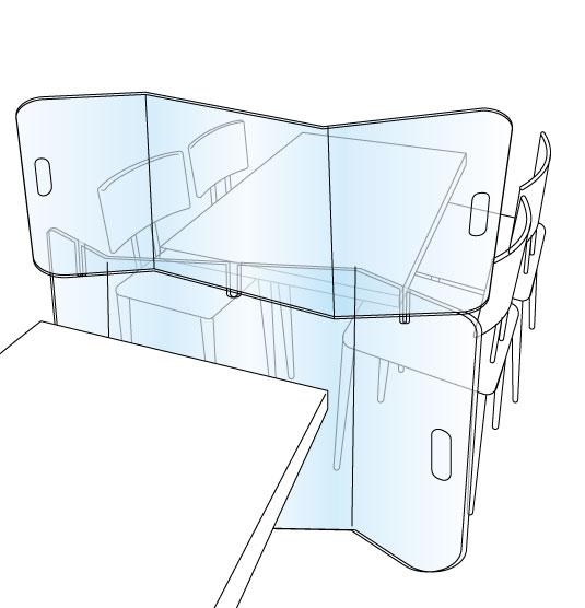 Protection plexiglas x2 séparation tables XL anticovid 150x150cm Germprotect 2
