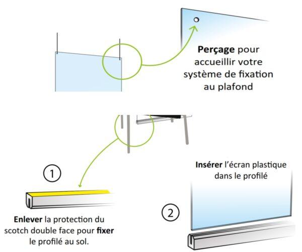 Protection Plexiglas suspendu avec rail au sol anticovid 50x200 cm Germprotect 2